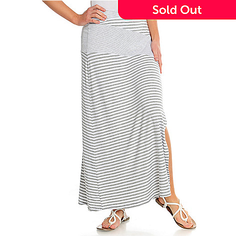 716-507 - Kate & Mallory® Stretch Knit Elastic Waist Side Slit Maxi Skirt