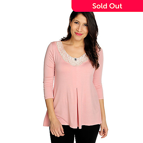 716-548 - Glitterscape® Stretch Knit 3/4 Sleeved Inverted Pleat Beaded Trim Top