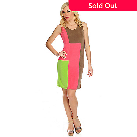 716-616 - Affinity for Knits™ Sleeveless Color Block Knee-Length Shift Dress