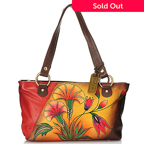 716-679 - Anuschka Hand-Painted Leather Double Handle East-West Shoulder Bag