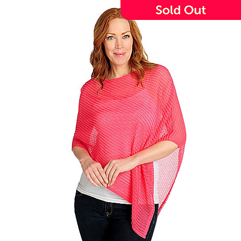 716-734 - Kate & Mallory® Can Can Knit Asymmetrical Pullover Sheer Poncho