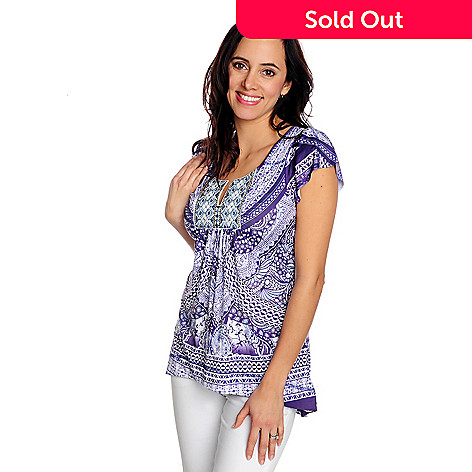 716-821 - One World Micro Jersey Flutter Sleeve Embroidered Detail Hi-Lo Top