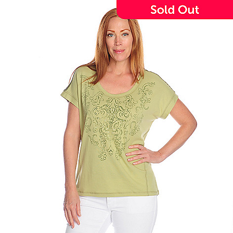 716-953 - One World Stretch Knit Dolman Sleeved Screen Printed Mesh Inset Top