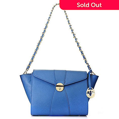 717-090 - PRIX DE DRESSAGE Saffiano Leather Chain Link Strap Push Lock Shoulder Bag