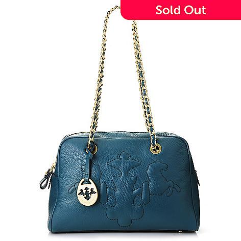 717-103 - PRIX DE DRESSAGE Pebbled Leather Trapunto Stitched Logo Chain Handle Shoulder Bag