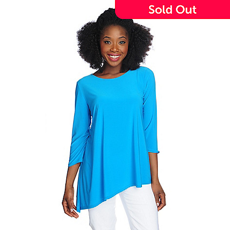 717-209 - aDRESSing WOMAN Stretch Knit 3/4 Sleeved Asymmetrical Top