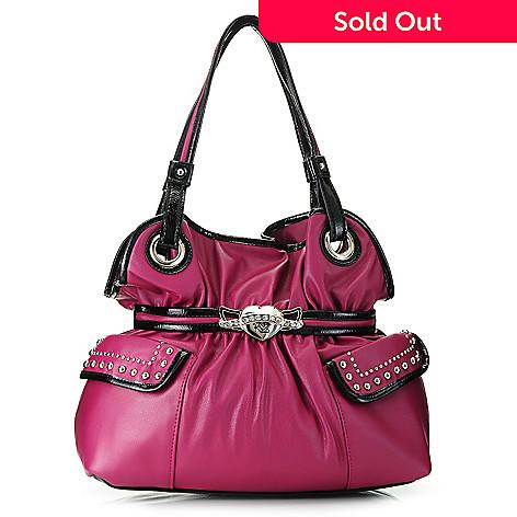 717-289 - Kathy Van Zeeland Double Handle Stud & Rhinestone Detailed Belted Shopper Handbag