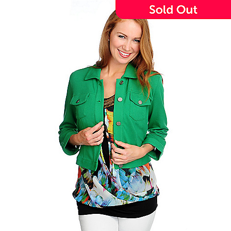717-375 - Kate & Mallory® French Terry 3/4 Sleeved Two-Pocket Button-up Jacket