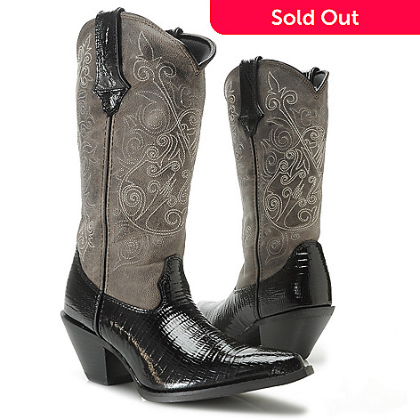 717-403 - Durango ''Crush'' Women's Lizard Embossed & Burnished Leather Scalloped Pull-on Mid-Calf Boots