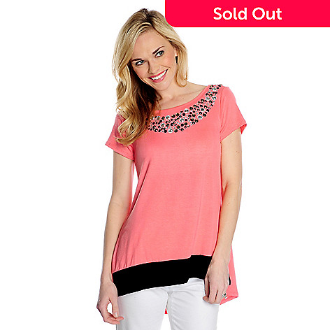 717-469 - Glitterscape® Stretch Knit Short Sleeved Embellished Neck Hi-Lo Top