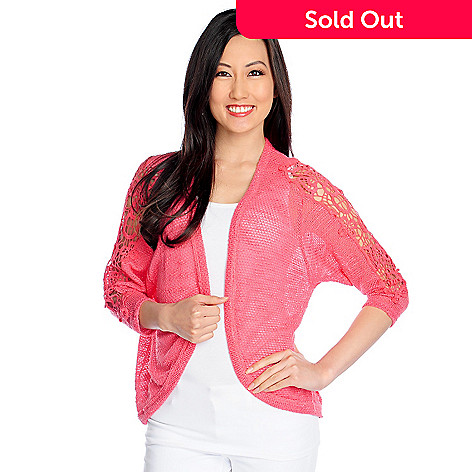 717-481 - Glitterscape® Slub Knit 3/4 Sleeved Lace Detailed Open Cardigan