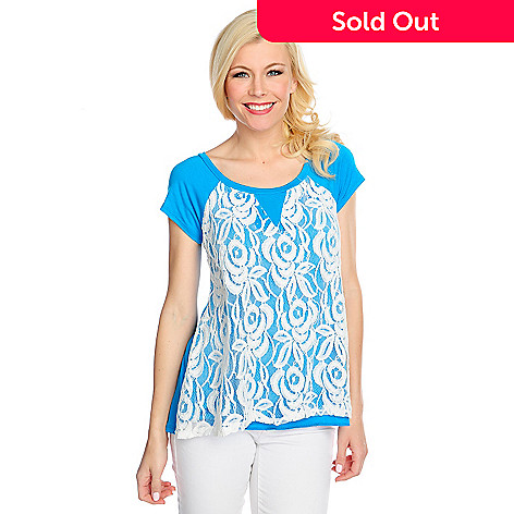 717-600 - OSO Casuals™ Stretch Knit Raglan Sleeved Lace Overlay Hi-Lo Top