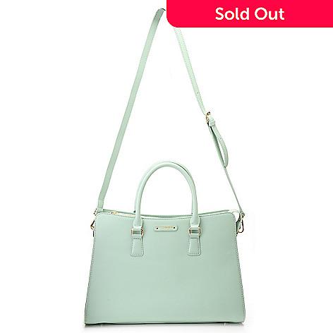 717-704 - Jack French London Leather Double Handle Zip Top Shopper Handbag w/ Shoulder Strap