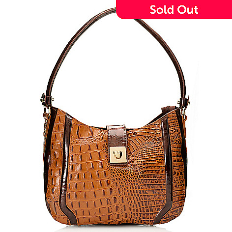 717-777 - Madi Claire Croco Embossed Leather Zip Top & Flap-over Belt Hobo Handbag