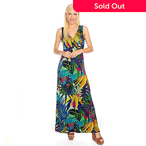 717-867 - Kate & Mallory® Printed Knit Sleeveless Banded Waist Faux Wrap Maxi Dress
