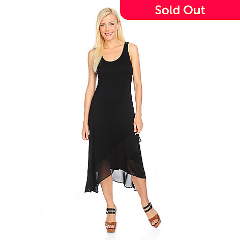 717-871 - Kate & Mallory® Stretch Knit Sleeveless Asymmetrical Chiffon Trim Dress