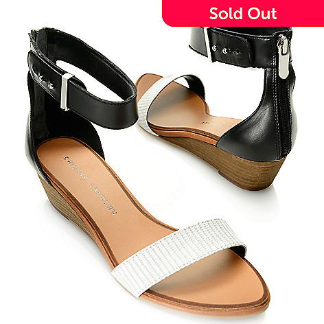 717-881 - Chinese Laundry ''Kalifornia'' Reptile Embossed & Smooth Leather Ankle Strap Demi Wedge Sandals