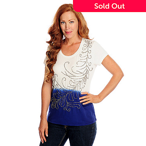 717-898 - Glitterscape® Stretch Knit Short Sleeved Dip-Dyed Embellished Top