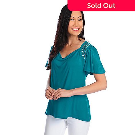 717-961 - Glitterscape® Stretch Knit Flutter Sleeve Studded Shoulder Draped Neck Top