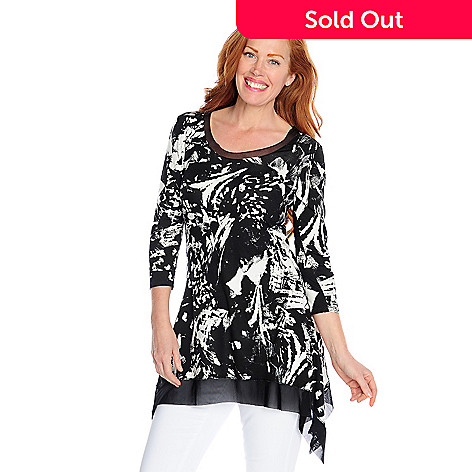 718-032 - Kate & Mallory® Stretch Knit 3/4 Sleeved Mesh Trim Sharkbite Tunic