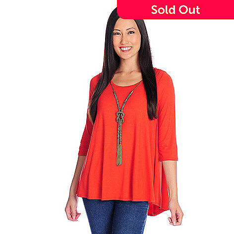 718-150 - Glitterscape® Stretch Knit 3/4 Sleeved Necklace Detailed Hi-Lo Top
