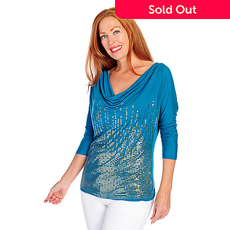 718-151 - Glitterscape® Stretch Knit 3/4 Sleeved Printed Sequin Draped Front Top