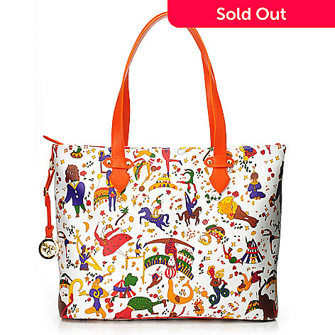718-357 - Piero Guidi Coated Canvas Magic Circus Special Collection Zip Top Tote Bag