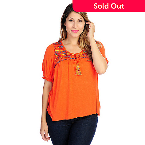718-498 - One World Slub Knit Elbow Sleeved Embroidered Detail Peasant Top