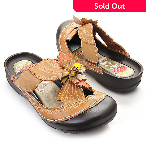 719-293 - Corkys Elite Hand-Painted Leather Beaded Leaf Design Bump Toe Sandals