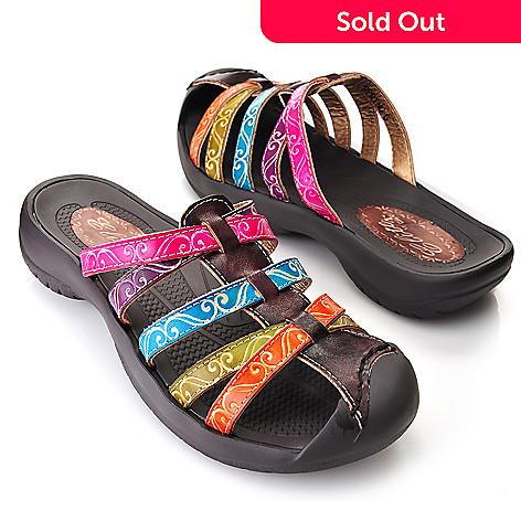 719-298 - Corkys Elite Hand-Painted Leather Crisscross Bump Toe Slip-on Sandals