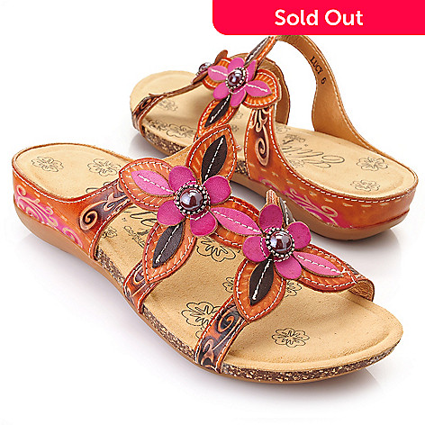 719-300 - Corkys Elite ''Lucy'' Leather Hand-Painted Bead Detailed Flower Sandals