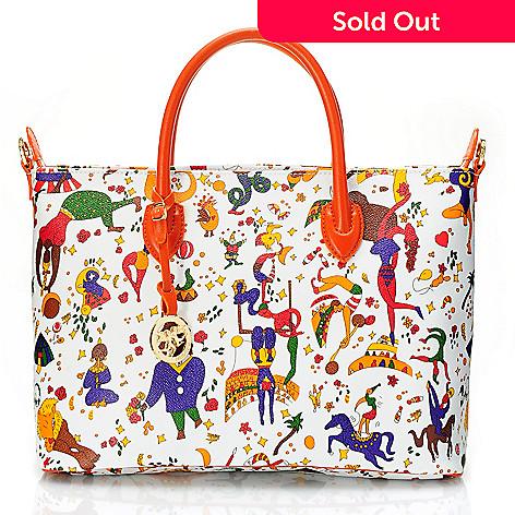 719-771 - Piero Guidi Coated Canvas Magic Circus Collection Satchel w/ Strap