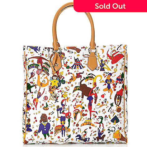 719-772 - Piero Guidi Coated Canvas Magic Circus Collection Zip Top Tote Bag w/ Strap