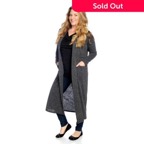 Paula Deen Sweater Knit Long Sleeved Open Front Duster Cardigan