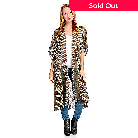 Indigo Thread Co.™ Printed Woven Kimono Sleeve Lace Detailed Open ...