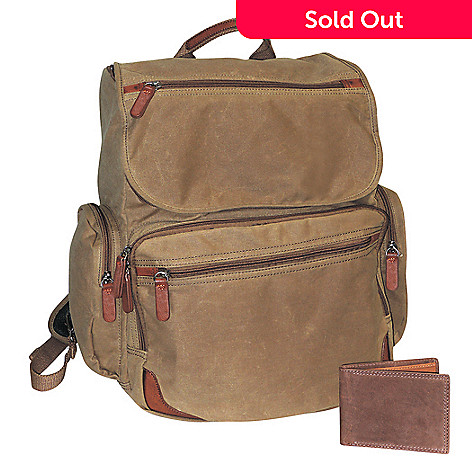 Buxton Canvas Faux Leather Trimmed Backpack w/ Slim Bi-Fold Wallet