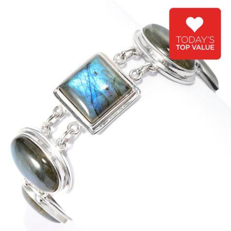 135-483 - Gem Insider Sterling Silver Multi Shape Gem Adjustable Toggle Bracelet