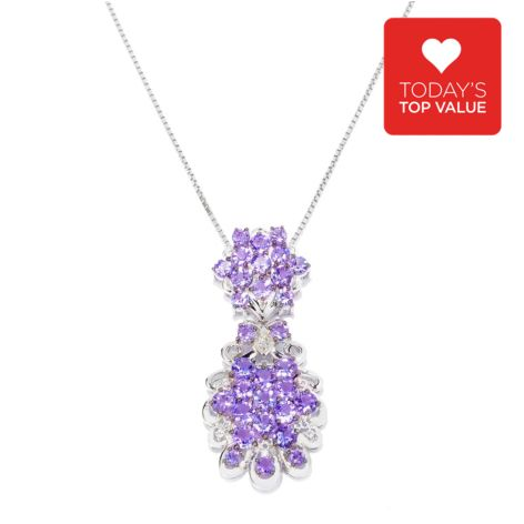 140-855 - Gem Treasures Sterling Silver 6.82ctw Tanzanite & White Topaz Pendant w/ Chain