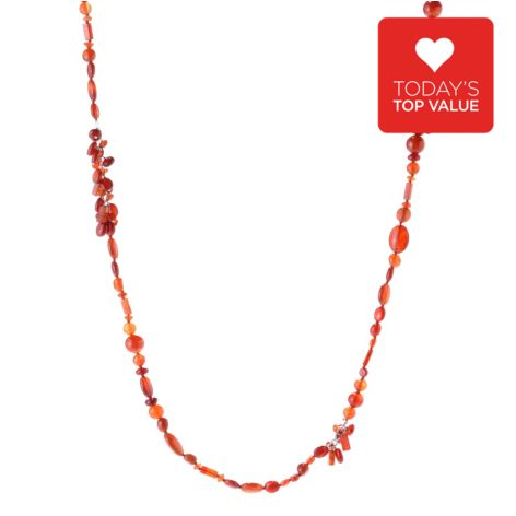 """142-779 - Gem Treasures Sterling Silver 42"""" Opaque Gem Bead Convertible Necklace"""