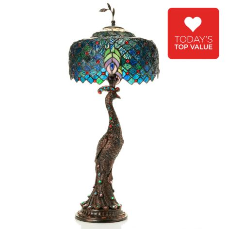 "444-743 - Tiffany-Style 29"" Jeweled Harlequin Peacock Stained Glass Accent Lamp"