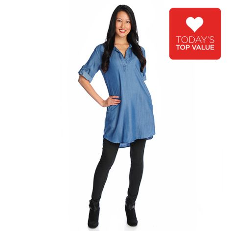 718-414 - OSO Casuals Roll Tab Sleeved Pullover Shirt Dress