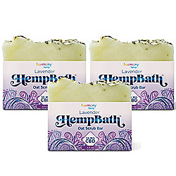 Harmony Hemp HempBath Scrub Bars (Set of 3) w/ 35mg CBD per 4.5 oz Bar