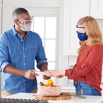 Social Distancing Tools Protect You & Your Family - 003-432 Medic Therapeutics Pack of 3 Face Masks w Removable Shields Choice of Color