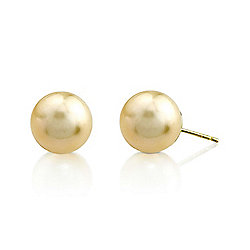 14K Gold AAA Quality Cultured Golden South Sea Pearl Stud Earrings