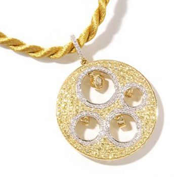 Luxe Web Exclusives Deals & Designs You Won't See on TV - 133-783 SoHo Boutique 18K Gold Diamond & Sapphire Round Pendant w Chain - 133-783