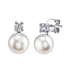 Radiance Pearl Sterling Silver AAA Quality 7mm Freshwater Cultured Pearl & Simulated Stone Earrings