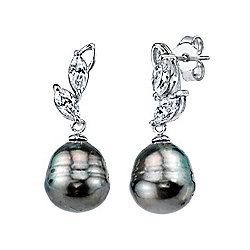 Radiance Pearl Sterling Silver AAA Quality 10mm Baroque Tahitian South Sea Pearl Earrings