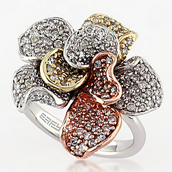 "EFFY ""Trio"" 14K Tri-Color Gold 1.52ctw Diamond Flower Ring - Size 7"
