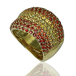 Sonia Bitton Galerie de Bijoux® 18K Gold 3.42ctw Yellow & Orange Sapphire Ring