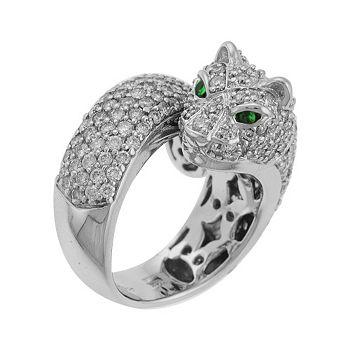 138-879 Sonia Bitton Galerie de Bijoux® 14K White Gold 4.08ctw Diamond & Tsavorite Panther Ring - 138-879